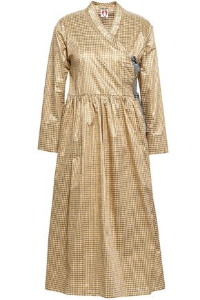 SHRIMPS Hermione metallic gingham poplin wrap dress