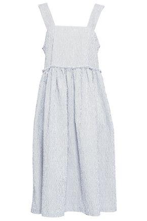 SHRIMPS Satin-trimmed striped cotton-seersucker dress