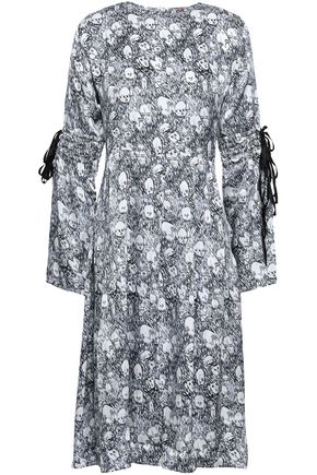 SHRIMPS Bow-detailed printed silk dress