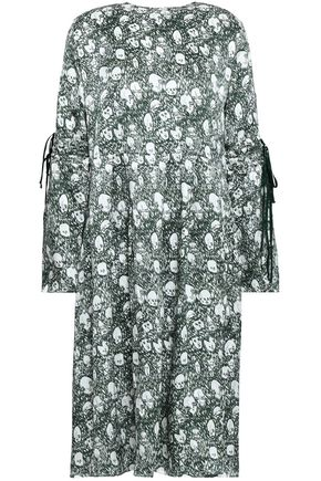 SHRIMPS Skye bow-detailed printed silk dress
