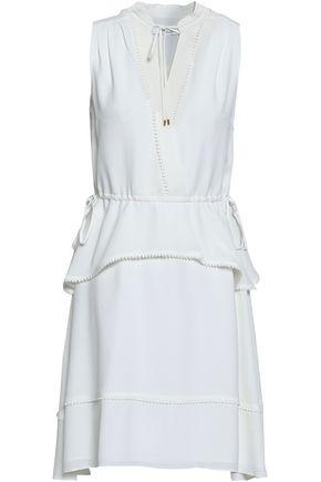 DEREK LAM 10 CROSBY Crochet-trimmed tiered crepe mini dress