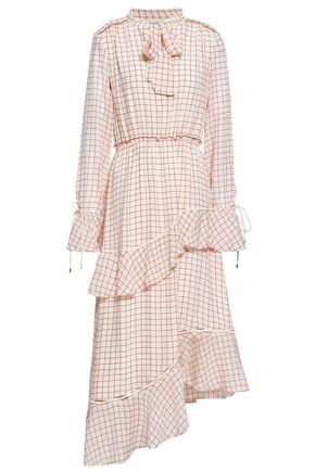 DEREK LAM 10 CROSBY Asymmetric tiered checked silk-georgette midi dress