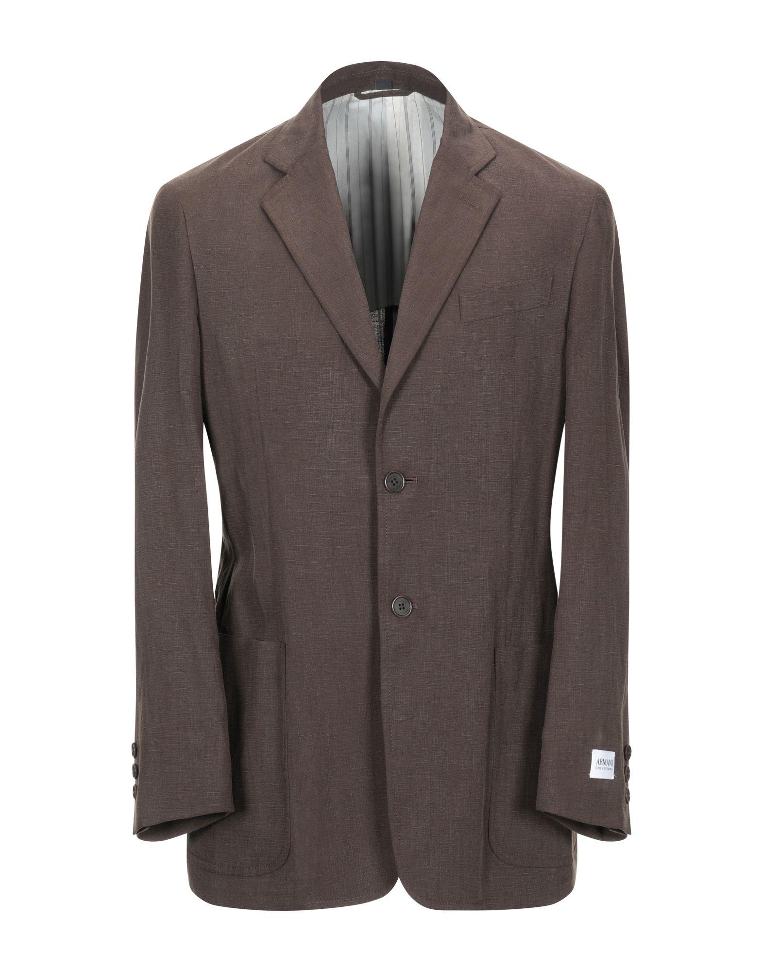 《セール開催中》ARMANI COLLEZIONI メンズ テーラードジャケット ダークブラウン 50 指定外繊維(テンセル)? 51% / 麻 49%