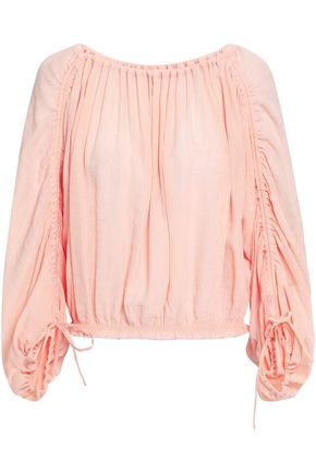 JOIE Ruched crinkled voile blouse
