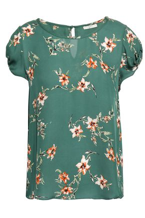JOIE Knotted floral-print silk crepe de chine top