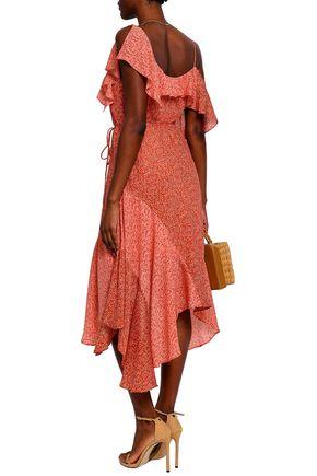 JOIE Asymmetric ruffled silk dress