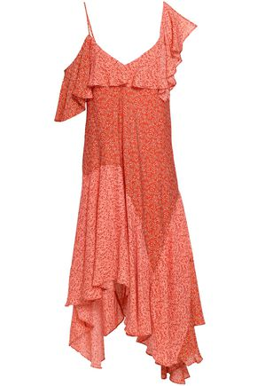 JOIE Asymmetric ruffled silk dress