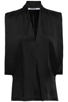 CHALAYAN Pleated satin-crepe top