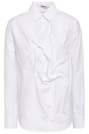 CHALAYAN Gathered cotton-poplin shirt