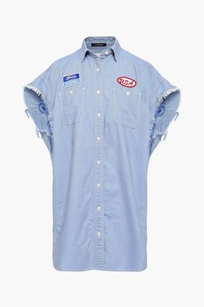 R13 Applilquéd cotton-chambray shirt