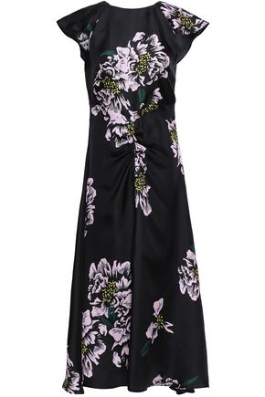 PAPER London Dutch ruched floral-print silk-twill midi dress