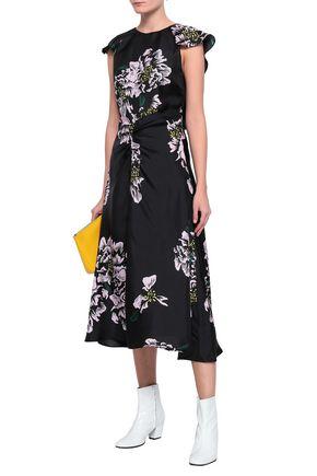 PAPER London Dutch ruched floral-print silk-twill midi dress