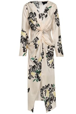 PAPER London Twist-front printed silk midi dress