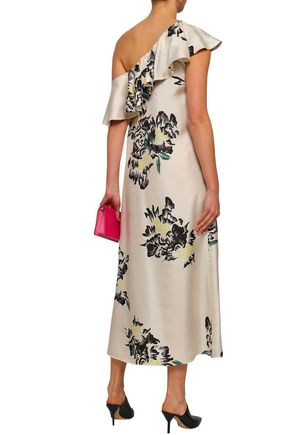 PAPER London One-shoulder ruffled printed silk-twill midi dress