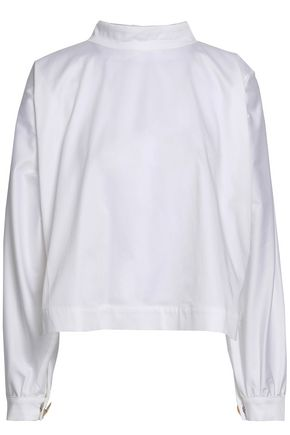 PAPER London Mardi Gras button-embellished stretch-cotton poplin blouse