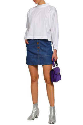 PAPER London Mardi Gras button-embellished stretch-cotton poplin blouse