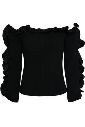 CINQ À SEPT Off-the-shoulder ruffle-trimmed crepe top