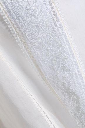CINQ À SEPT Lace-trimmed cotton-gauze shirt