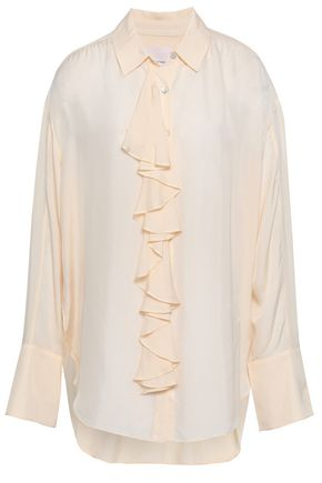 CINQ À SEPT Ruffled twill shirt