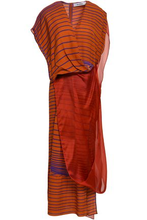 CHALAYAN Draped silk-organza and printed crepe de chine maxi dress