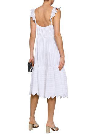 LOVE SAM Daniela embroidered metallic cotton-blend gauze slip dress