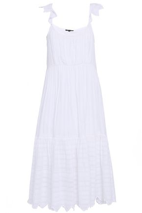 LOVE SAM Daniela embroidered metallic cotton-blend gauze slip dress