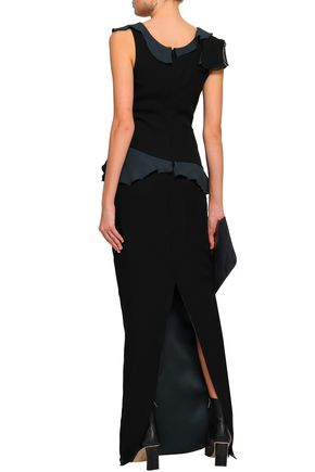 CHALAYAN Ruffled georgette and satin-crepe gown