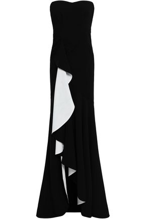 CINQ À SEPT Draped two-tone crepe gown