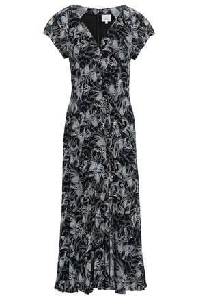 CINQ À SEPT Printed crepe de chine midi dress