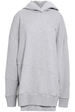 7 FOR ALL MANKIND Oversized mélange French cotton-terry hooded sweatshirt