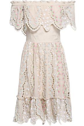 LOVE SAM Off-the-shoulder embellished cotton-blend mini dress