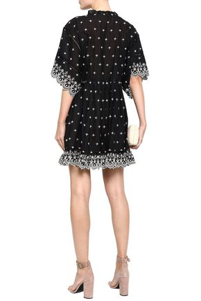 LOVE SAM Ruffle-trimmed broderie anglaise cotton-voile mini dress