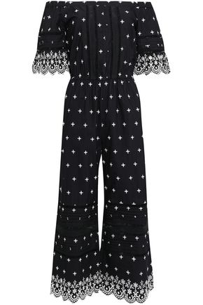 LOVE SAM Off-the-shoulder cropped embroidered cotton jumpsuit