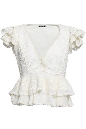 LOVE SAM Ruffled broderie anglaise cotton and appliquéd gauze top