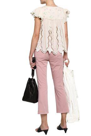 LOVE SAM Ava Keepsake embellished broderie anglaise cotton-blend voile blouse