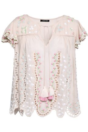 LOVE SAM Ava Keepsake embellished broderie anglaise cotton-blend voile blouse