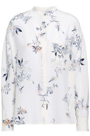 9b33d10fa4b01 VINCE. Floral-print silk crepe de chine shirt ...