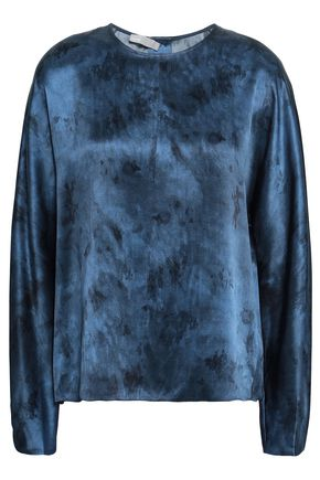 VINCE. Tie-dyed silk-satin blouse