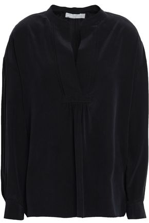 VINCE. Gathered washed-silk blouse