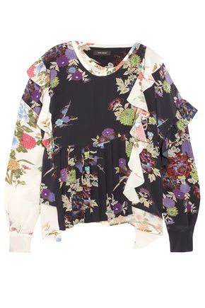 ISABEL MARANT Pleated floral-print silk crepe de chine top