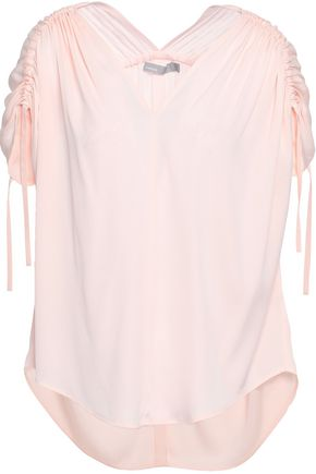 VINCE. Ruched stretch-silk top