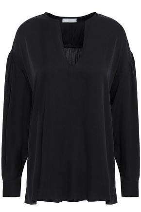 VINCE. Gathered silk-blend blouse