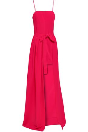 CINQ À SEPT Gianni asymmetric tie-front pleated stretch-crepe gown