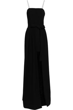 CINQ A SEPT | Cinq À Sept Woman Gianni Asymmetric Tie-front Pleated Stretch-crepe Gown Black | Goxip