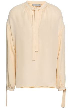 VINCE. Pussy-bow silk-crepe blouse