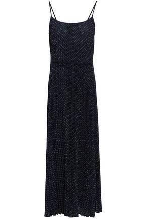VINCE. Plissé polka-dot crepe midi dress