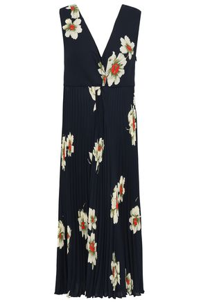 VINCE. Floral-print pleated crepe midi dress