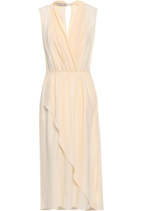VINCE. Wrap-effect silk crepe de chine midi dress