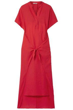 VINCE. Tie-front cotton-twill midi dress