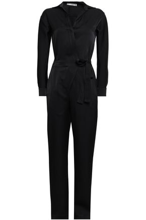 VINCE. Wrap-effect satin-crepe jumpsuit